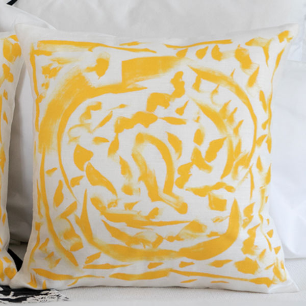 Circle and Square Hand Painted Design on White Pillow