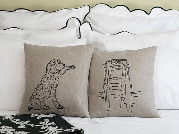 close up of dog and stool illustration pillows
