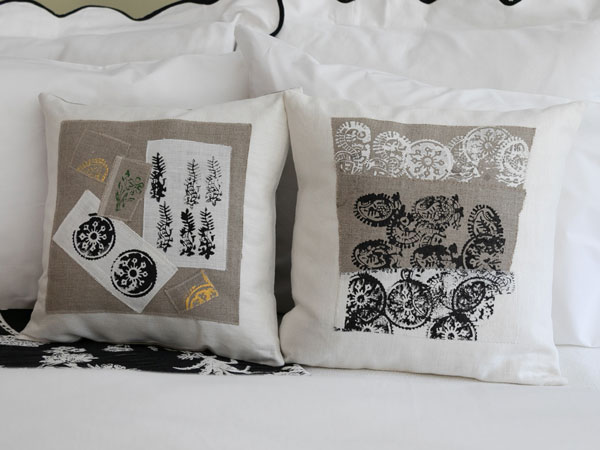 close up of collage patterned pillows