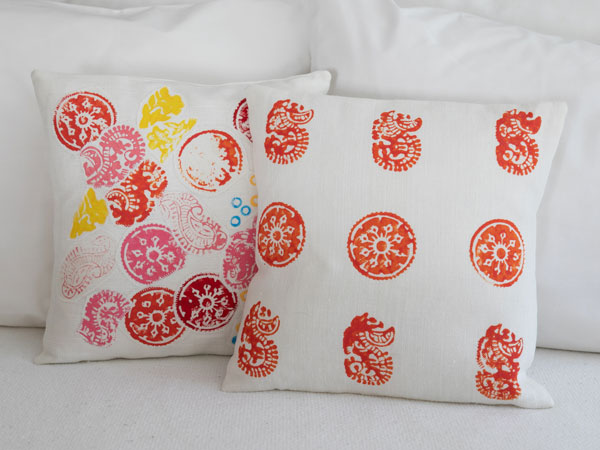 close up of patterned pillows
