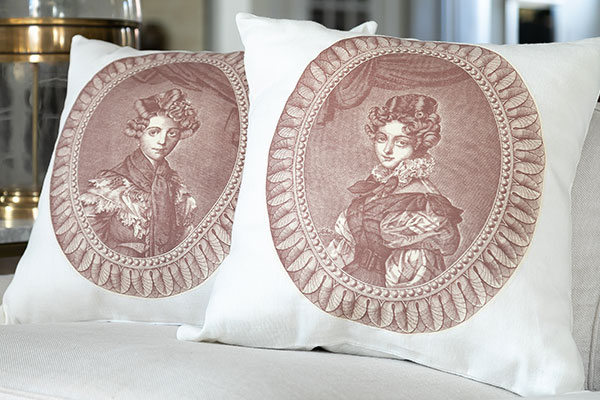 close up of historical portraits pillows