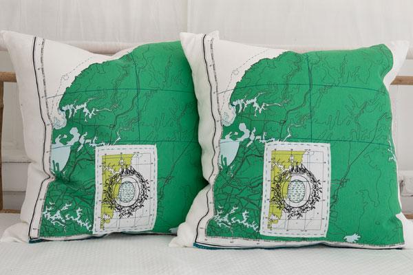 close up of map pillows