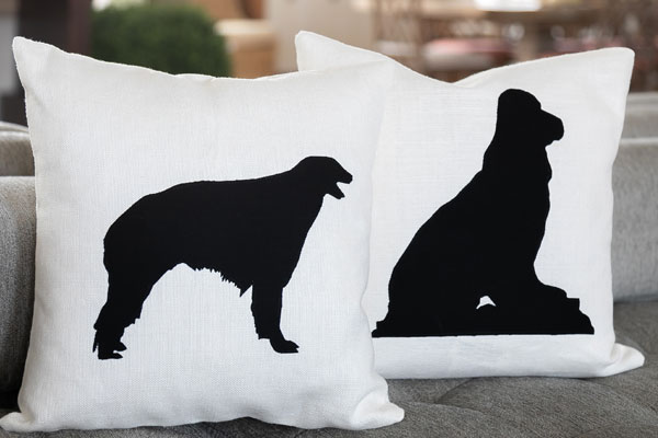 close up of dog silhouettes pillows