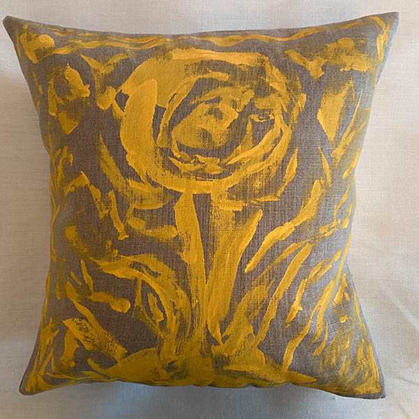 Towering Yellow Bloom on Brown Pillow